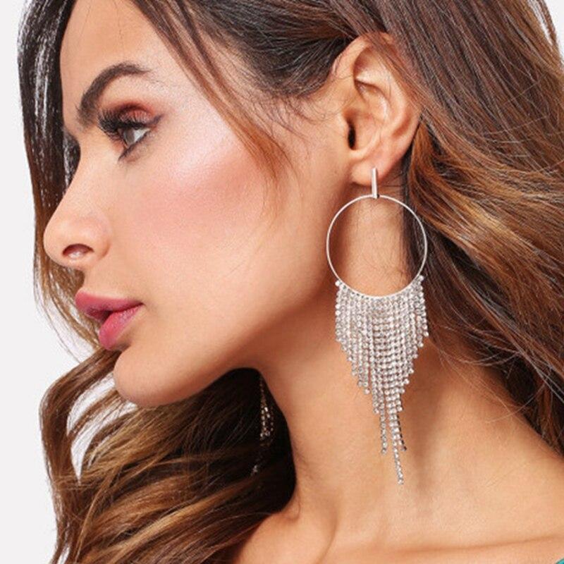 Sexemara sexy hoop earrings large size gold color tassel earrings crystal long earrings for Women for travel beach dress gift