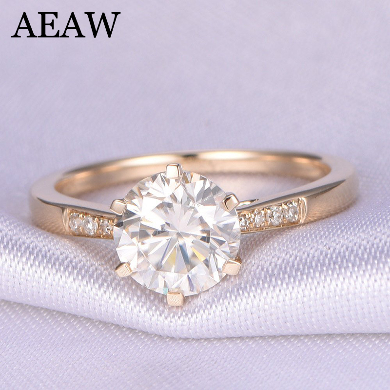 10K Yellow Gold 1.0ct 6.5mm Round Cut G Moissanite Engagement Ring Anniversary Ring Moissanite Ring For Women