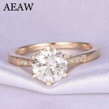10 к желтое золото 1.0ct 6,5 мм круглая огранка G муассанит обручальное кольцо юбилейное кольцо Муассанит кольцо для женщин