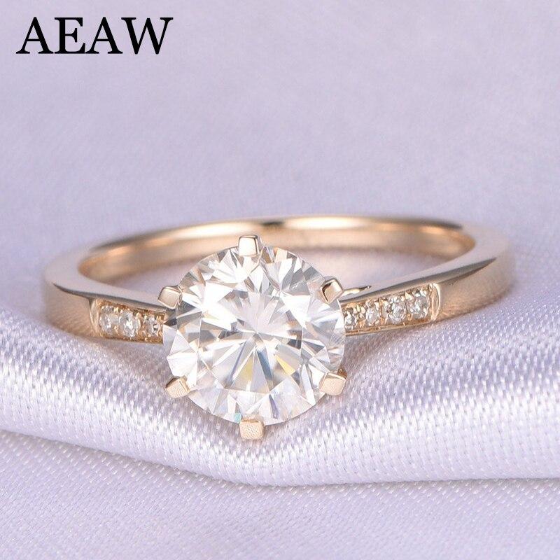 10K Yellow Gold 1.0ct 6.5mm Round Cut G Moissanite Engagement Ring Anniversary Ring Moissanite Ring For Women