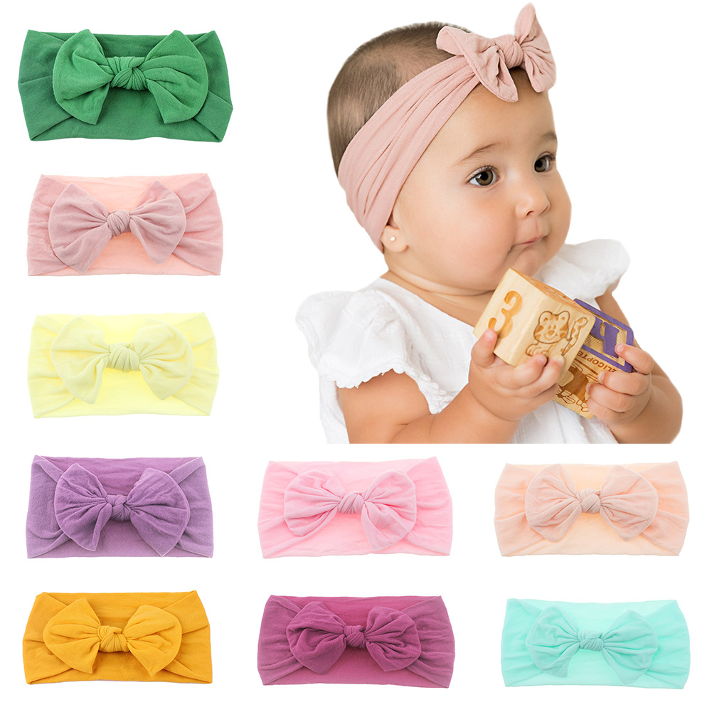 Fashion Newborn Toddler Baby Girls Head Wrap Rabbit Big Bow Knot Turban Headband Hair Accessories Birthday Gifts For 0-3Y