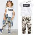 Hot Girls Ropa de Verano Letra de La Manera camiseta + Pantalones de Los Niños Del Suéter de Hip Hop Ropa de Los Niños Arropa los Sistemas