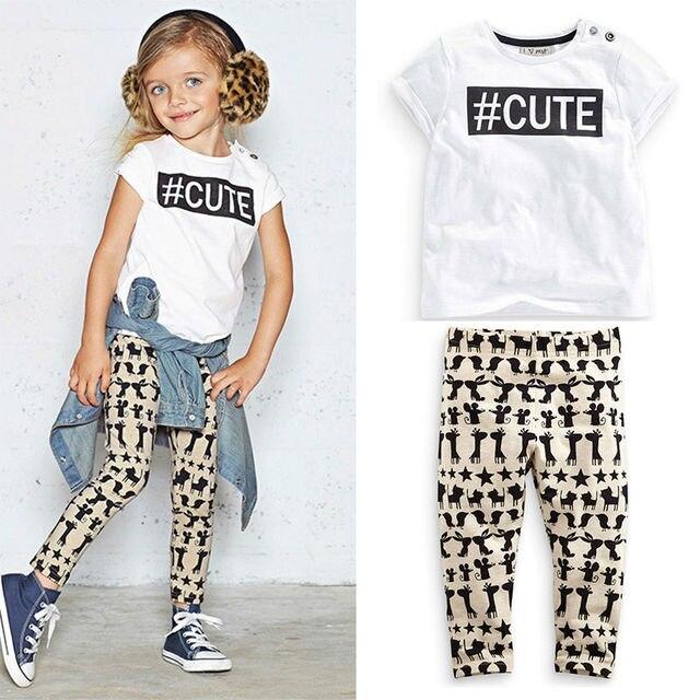 Hot Girls Summer Clothes Fashion Letter T-shirt+Pants Pullover Kids Hip Hop Clothing Children Clothes Sets