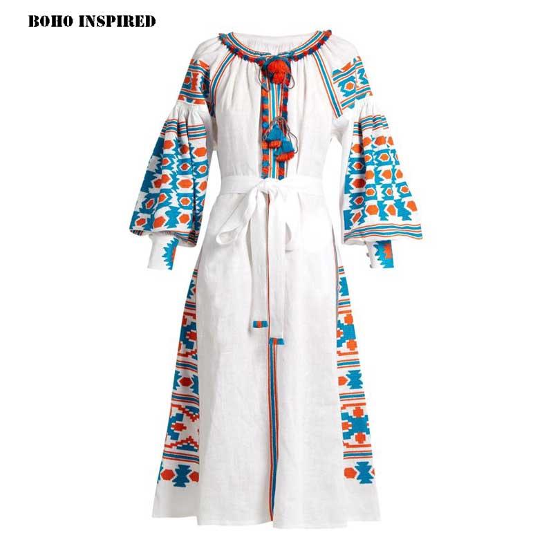 Robes Marque Ethnique Bohème Vacances Broderie Blanc 2017 L'ukraine Robe Chic Femmes Maxi Inspiré Glands Boho OqzxSnwEA