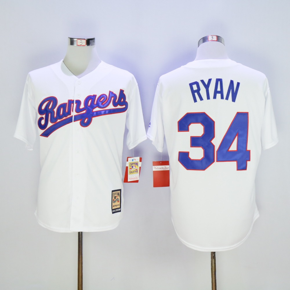 Mens Texas Rangers Nolan Ryan Cooperstown Fully Stitched Throwback Baseball Jersey