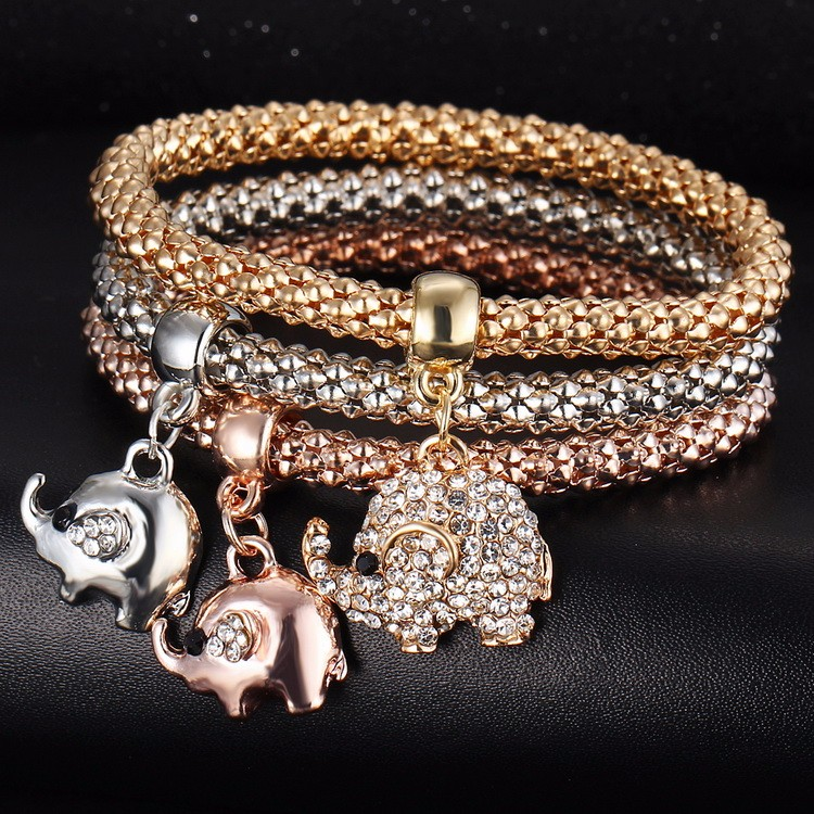 Crystal Charm Bracelet - elephants