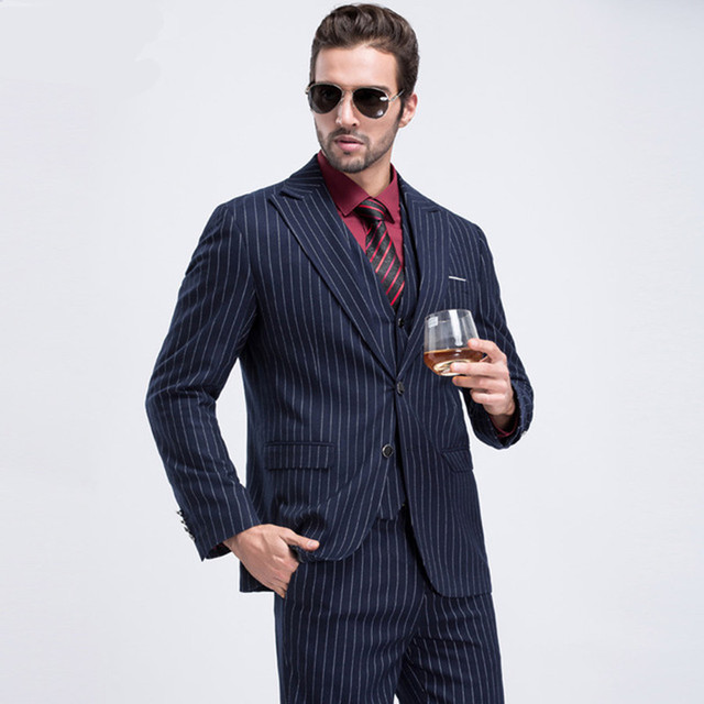 2017 Striped Mens Navy Wedding Suit Good Quality One Button Slim ...