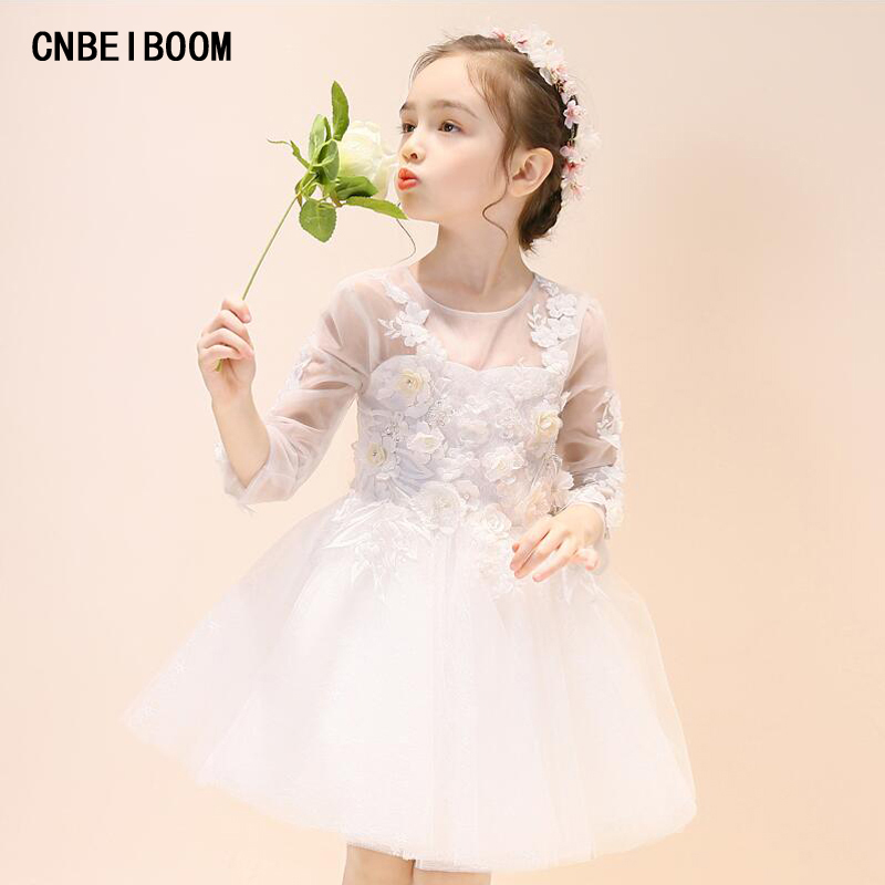 Lace Baby Girl Wedding White Flowers Dress Infant Princess Little Girls Birthday Party Dress Long Sleeve Children 3-12T Gowns lace butterfly flowers laser cut white bow wedding invitations printing blank elegant invitation card kit casamento convite
