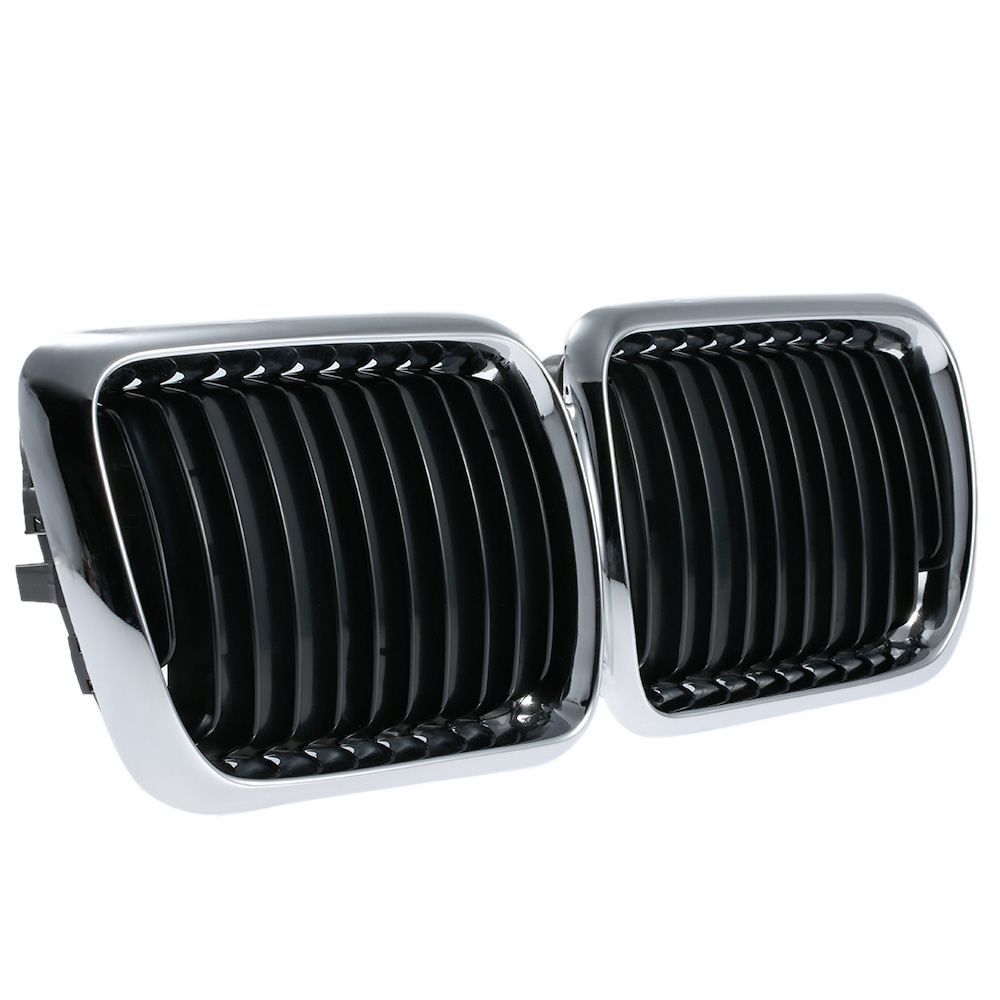 Car Style Front Center Wide Kidney Hood Racing Grilles Half Silver Color Plating Grill for BMW E36 1995-1999 for Cars 1 pair gloss black m color front bumper center kidney grilles for bmw x3 f25 2011 2012 2013 2014 racing grills