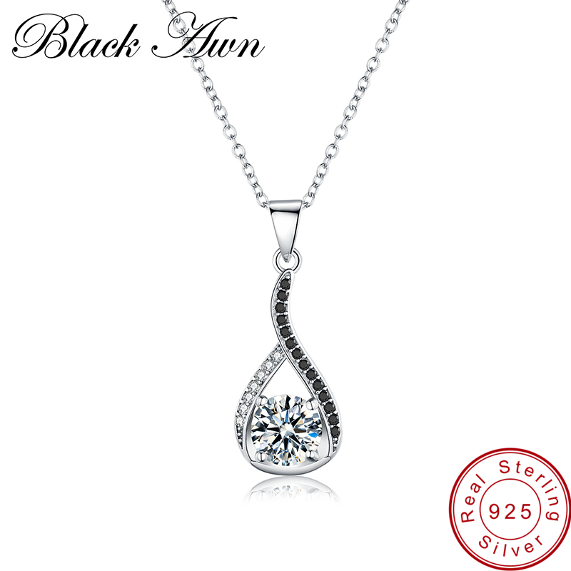 [BLACK AWN] Genuine 925 Sterling Silver Necklaces Pendants Water-Drop Necklace For Women Sterling Silver Jewelry P084