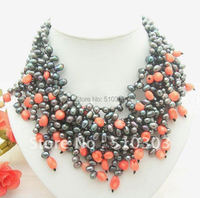 Great! 4 Strands Black PearlΠnk Coral Necklace