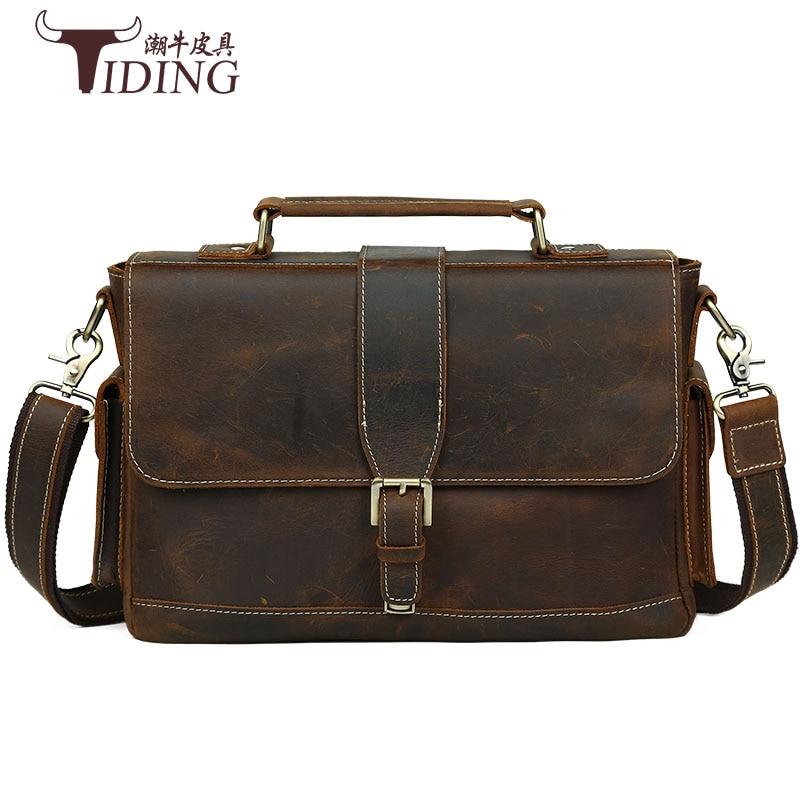 Men Briefcase Genuine Leather Bag Crazy Horse Brands Vintage Messenger Bags 14