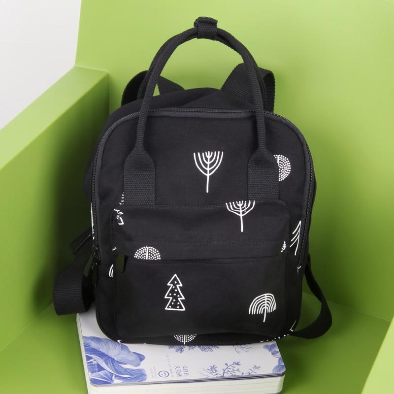 New Japanese Design Mori Girl Backpack Women Vintage Fresh With Trees Print Large Canvas School Bag Female Black Book Bag