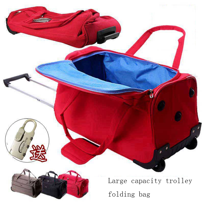 Waterproof Travel Bag Large-capacity Folding Suitcases Wheels Women Rolling Luggage Handbag 24/28