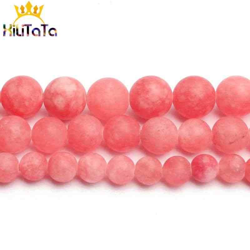 Światło czerwone naturalne Jades kamień koraliki matowy okrągły luźne koraliki modułowe 15 ''6/8/10mm dla biżuterii dzięki czemu bransoletka Zrób To Sam naszyjnik z amuletem