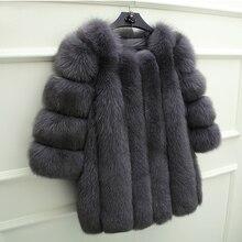 UPPIN шуба Новинка зимы элегантный темперамент Для женщин пальто с мехом Популярные темно-серый искусственный Лисий Меховая куртка О-образным вырезом Встроенная теплые куртки плотные пальто шуба из искусственного меха