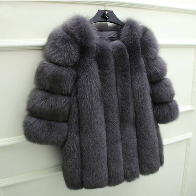 220459a5eca UPPIN Winter Elegant Fashion Fur Coat Women Latest Dark Grey Faux Fox Fur  Jacket O-Neck Fitted Warm Jackets Thick Womens Coats