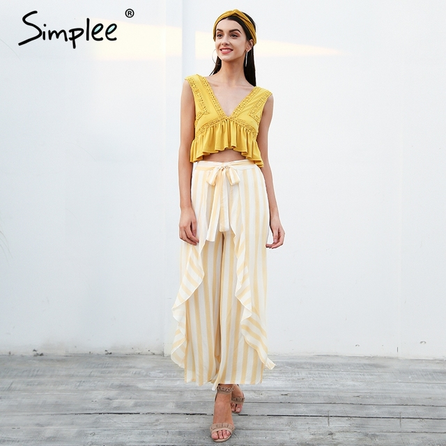 Simplee Stripe split wide leg pants women bottom Sash ruffle high waist trousers Summer beach casual pants female 4