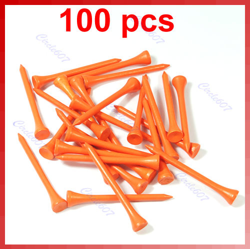 100pcs Orange/blue/white/yellow/red 70mm Golf Ball Wood Tee Outdoor sports wooden Tees Brand New