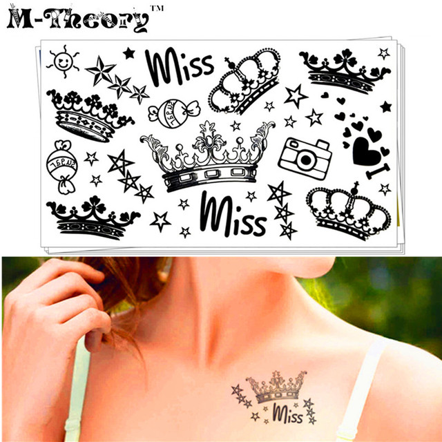M-theory Sexy Makeup Temporary Tattoos Body Arts Crowns Flash Tatoos Stickers 10x17cm Waterproof Swimsuit Bikini Makeup Tools