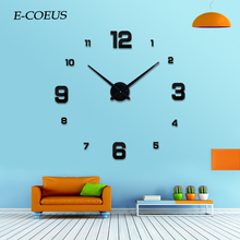 Brief Free Shipping Watch Wall Clocks Creative Sticker 3D Large Number DIY Meetting Room Home Decoration
