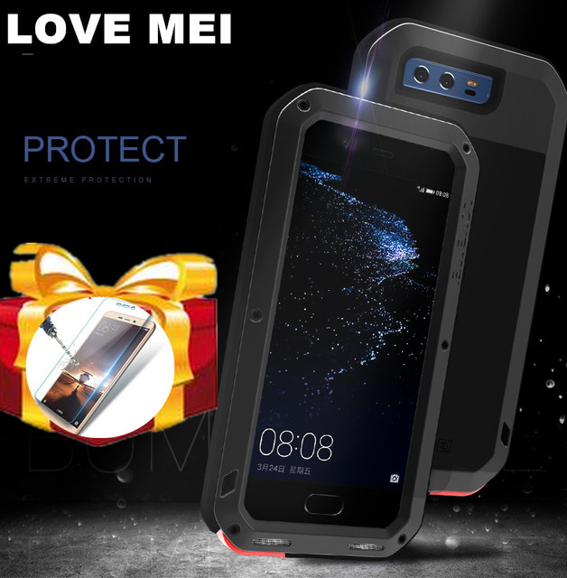 quality design 5477b 1dc09 US $28.0 20% OFF|Glass film) Huawei P20 Pro P9 P10 plus Mate 20 10 9 Case  LOVE MEI Water Resistant Metal Armor Aluminum Silicon waterproof Case-in ...