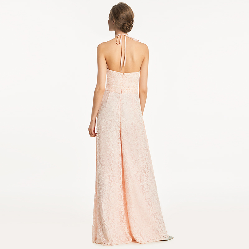 6e6b105fa8fa Tanpell halter bridesmaid dress lace sleeveless floor length gown women  jumpsuit sheath wedding party formal bridesmaid dresses-in Bridesmaid  Dresses from ...