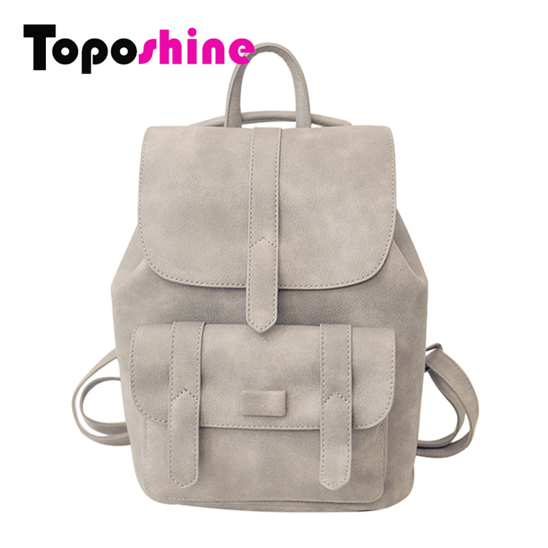 Toposhine Famous Brand Backpack Women Backpacks Solid Vintage Girls School Bags for Girls Black PU Leather Women Backpack 1523