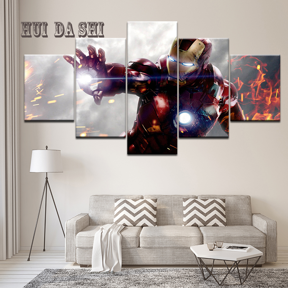 5 Panel Wall Art Painting Home Decorations HD Printed Canvas Poster Superhero Movie Iron Man Modular Pictures Frame Artwork