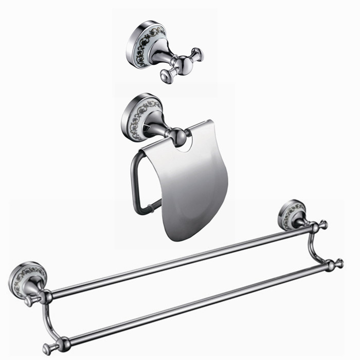 Free shipping copper ceramic chrome Bathroom Bath Hardware Set paper holder,robe hook,double towel bar DB000 fully copper bathroom towel ring holder silver