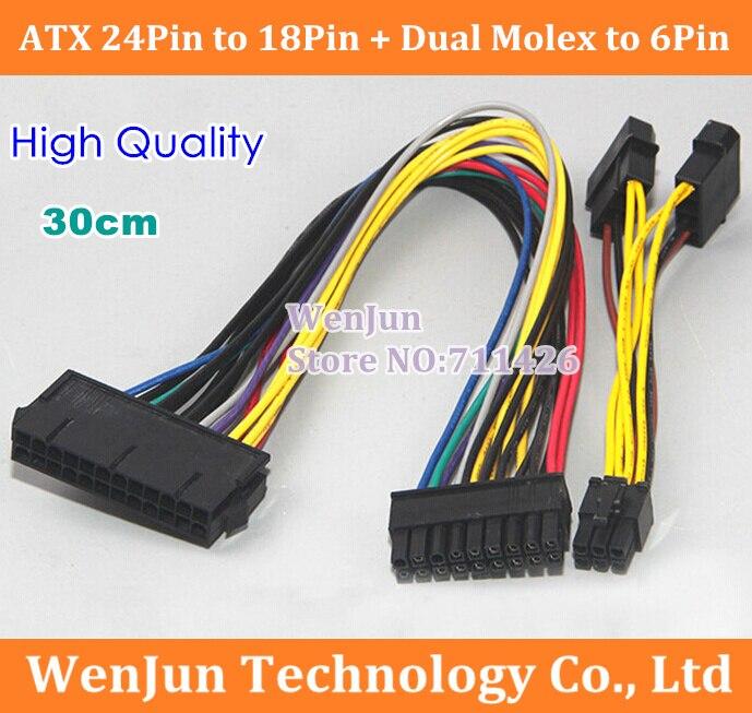 Бесплатная доставка Новый ATX 24 Pin Female to 18 Pin Male + двойной Molex to 6Pin адаптер кабель питания для HP Z600 материнская плата отправляется DHL