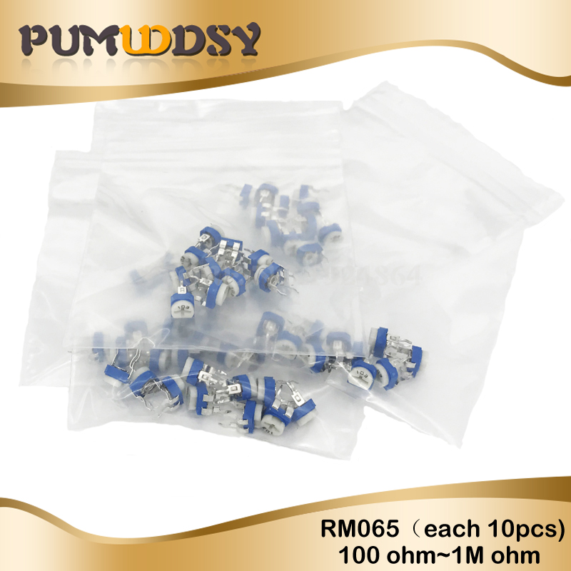 13valuesX10pcs=130pcs Trimming Potentiometer RM-065 100ohm-<font><b>1Mohm</b></font> RM065 Variable <font><b>Resistors</b></font> component diy kit new image