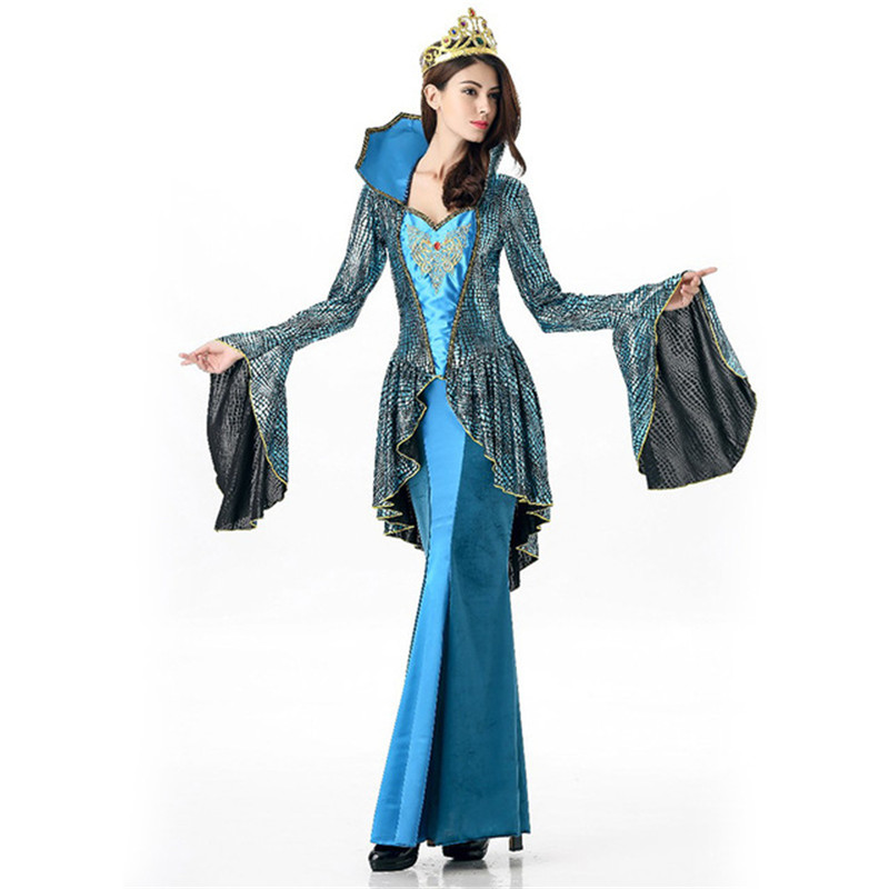 coulhunt 2017 medieval queen deluxe halloween costume renaissance blue golden embroidery dress queen victoriaantoinette cosplay in holidays costumes from