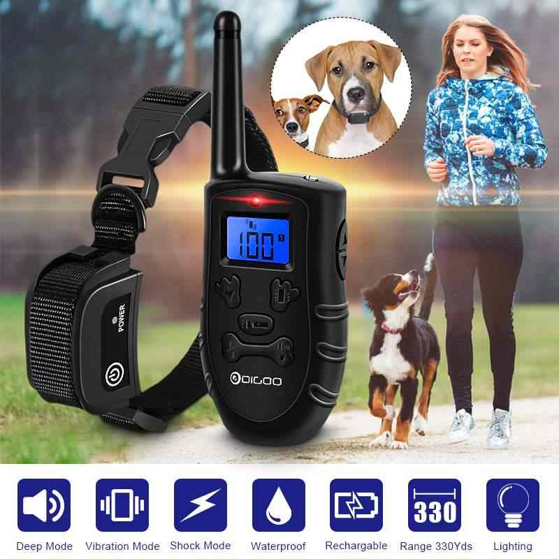 Digoo DG-PPT1 Rechargeable Electronic Dog Collar Dog Trainings Beep/Vibration/Static Stimulation Stop Barking 330 Yds ALL Size