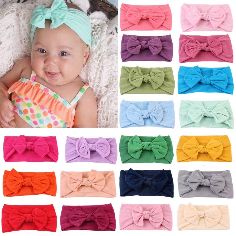 2019 New Baby Nylon Headband Soft Rabbit Bowknot Turban Hair Bands For Children Girls Elastic Headwrap Hair Accessories