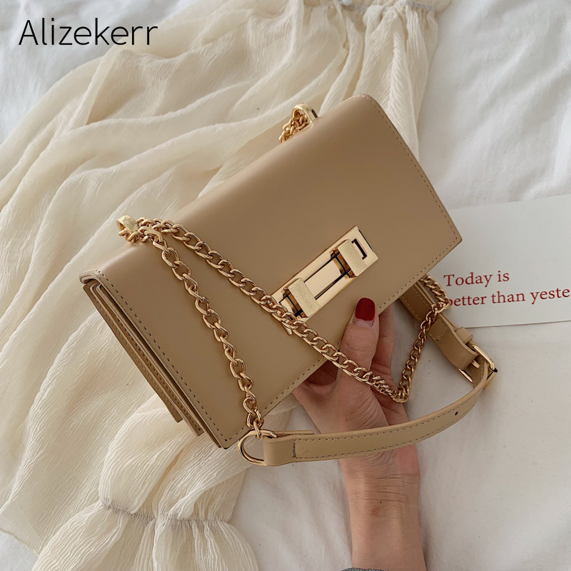Square Shoulder Bag Women Fashion Korean Mini Lock Chain Women Bag Totes Borse Beige Simple Messenger Bags Ladies Free Shipping