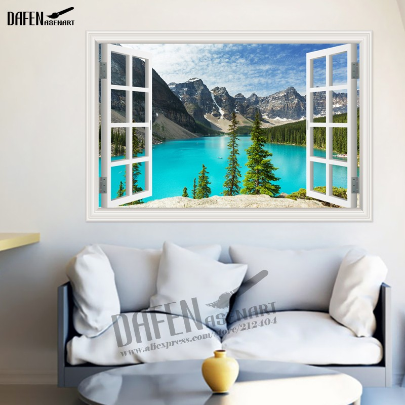 3d Wall Sticker Nature Mountain Lake 3d Window View Wallpaper Home Decor Decals Removable