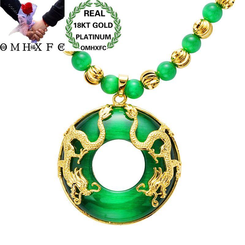 MHXFC gros mode européenne mâle fête d'anniversaire cadeau de mariage Dragon noir vert opale véritable 18KT or pendentif collier NL160