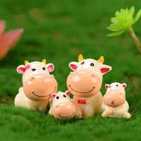 4 unids/lote de estatuillas en miniatura de animales de jardín de hadas cortadas para terrarios bricolaje artesanía con resina Mini accesorios de decoración de jardín