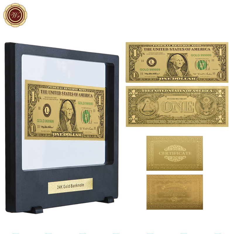 WR USA America $1 Dollar Bank Note Dollar 24K Gold Foil Banknote Collection Gift
