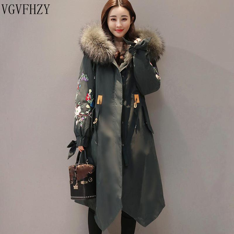 Winter Jacket Women 2018 Large Fur Collar Hooded Down Jacket Thick Warm Loose Female Parkas Embroidery Women Winter Coat LY1271