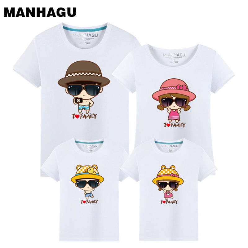 MANHAGU Family Clothing Outfits Fashion Print Summer Short Sleeve T-shirt Matching Family Set For Mother Daughter And Father Son(China)