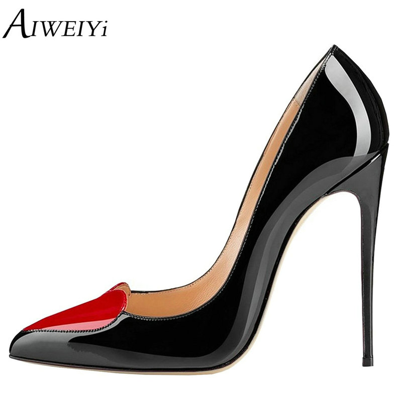 AIWEIYi 12CM High Heels Shoes Woman High Heels Pumps Patent Leather Ladies Shoes Black Heels Women Shoes High Heels Women Pumps bacia women shoes black patent leather ladies high heels shoes with bowknot thick heel pumps genuine leather lady shoes sb075