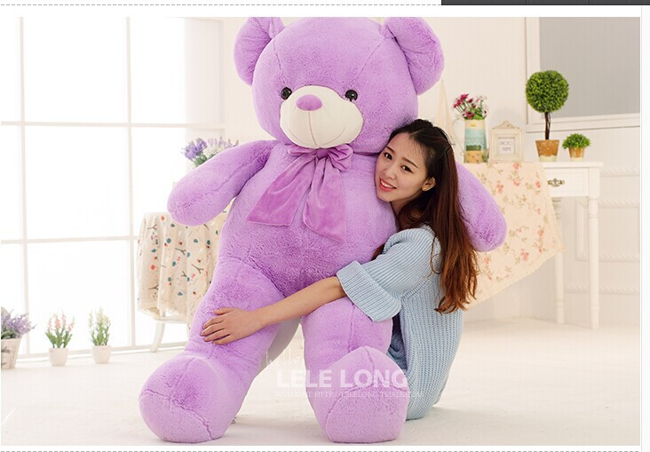 about 140 cm voilet teddy bear plush toy bear doll throw pillow gift w4903 new creative plush bear toy cute lying bow teddy bear doll gift about 50cm