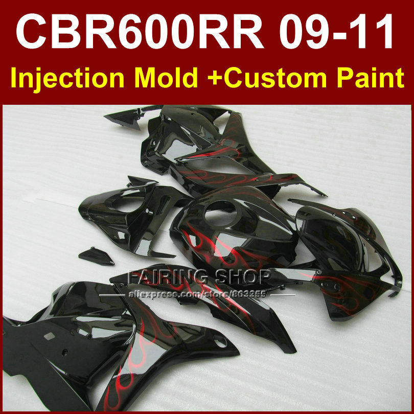Red flame customize fairing set for HONDA CBR 600RR 2009 2010 2011 fairings cbr600 rr  09 10 11 ABS bodykit CBR 600 RR+7Gifts