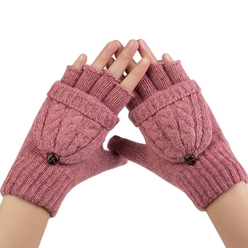 Gants d'hiver femme mitaines plus chaudes gants sans doigts fille-1816