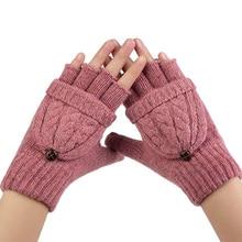 Winter Gloves Women Mitten Warmer Fingerless Gloves Girl Wool Exposed Finger Gloves Winter Ladies Mittens