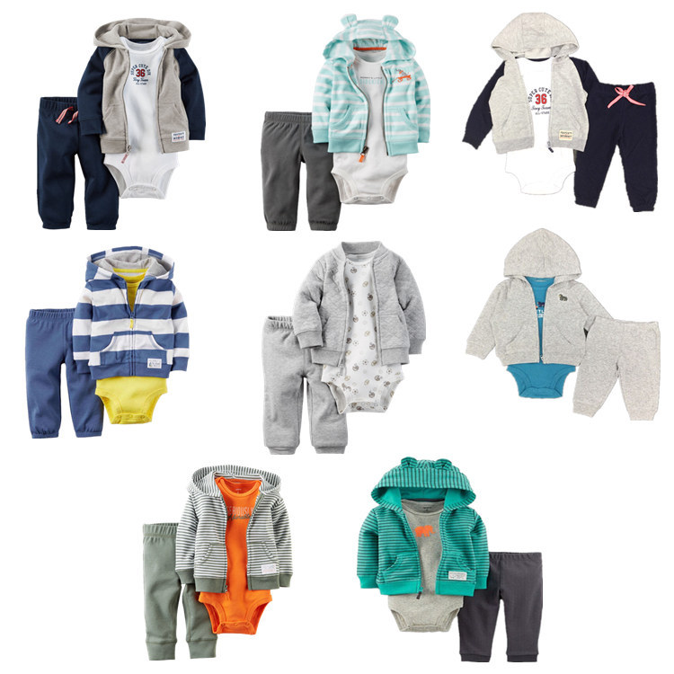3pcs New Baby Boy Clothes Newborn Toddler Infant 100% Cotton Hoodies Coat + Romper Pants Trouser Outfit 3-24M Children Clothing newborn baby boy girl 5 pcs clothing set cotton cartoon monk tops pants bib hats infant clothes 0 3 months hight quality