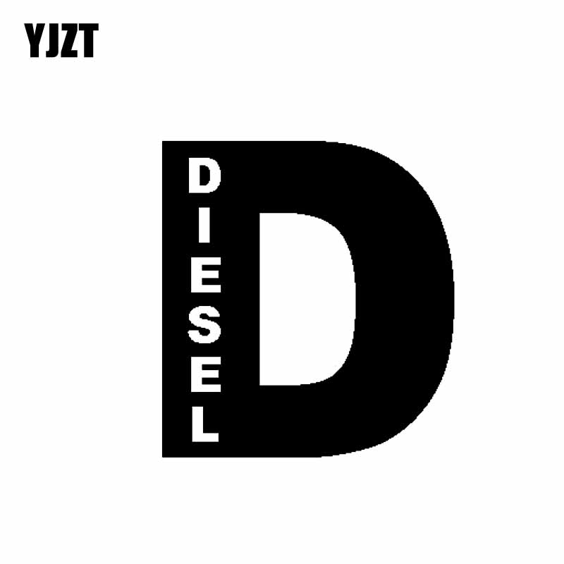 YJZT 9.4CM*10.2CM Diesel D Powerstroke Turbo Fuel Vinyl Decal Car Sticker Turbo Black/Silver C10-00882