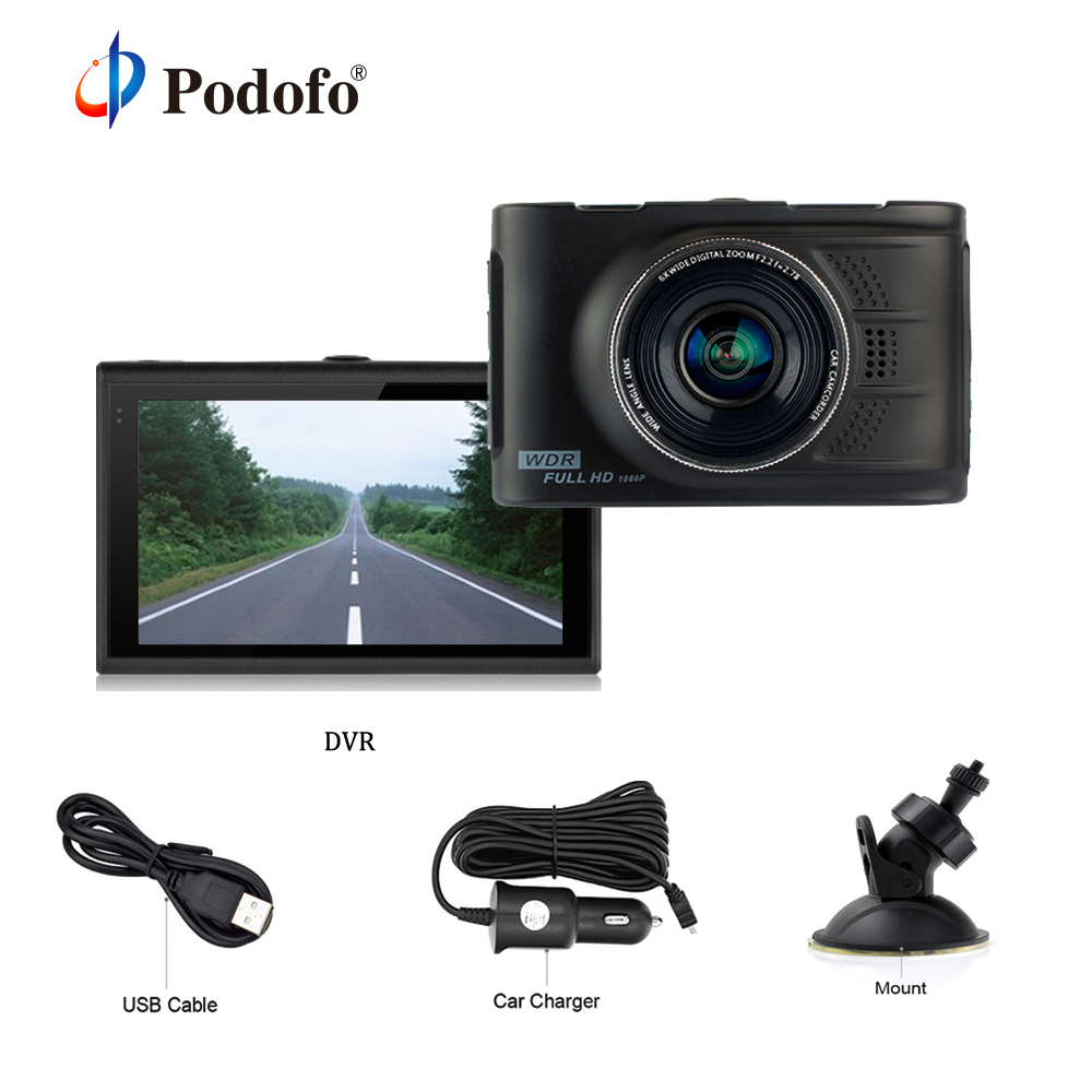 Podofo Mini Car Dvr 3.0 inch Auto Registrator Original Novatek 96223 Digital Video Recorder WDR Blackbox Full HD 1080P Dash Cam